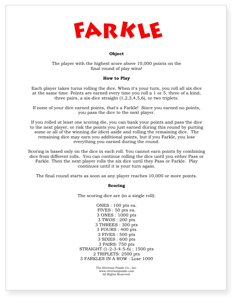 farkle rules 5 of a kind dice